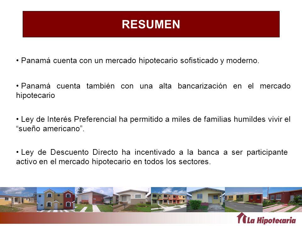 RESUMEN Panamá cuenta con un mercado hipotecario sofisticado y moderno. Panamá cuenta también con una alta bancarización en el mercado hipotecario.