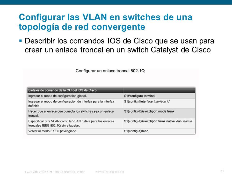 Configurar las VLAN en switches de una topología de red convergente