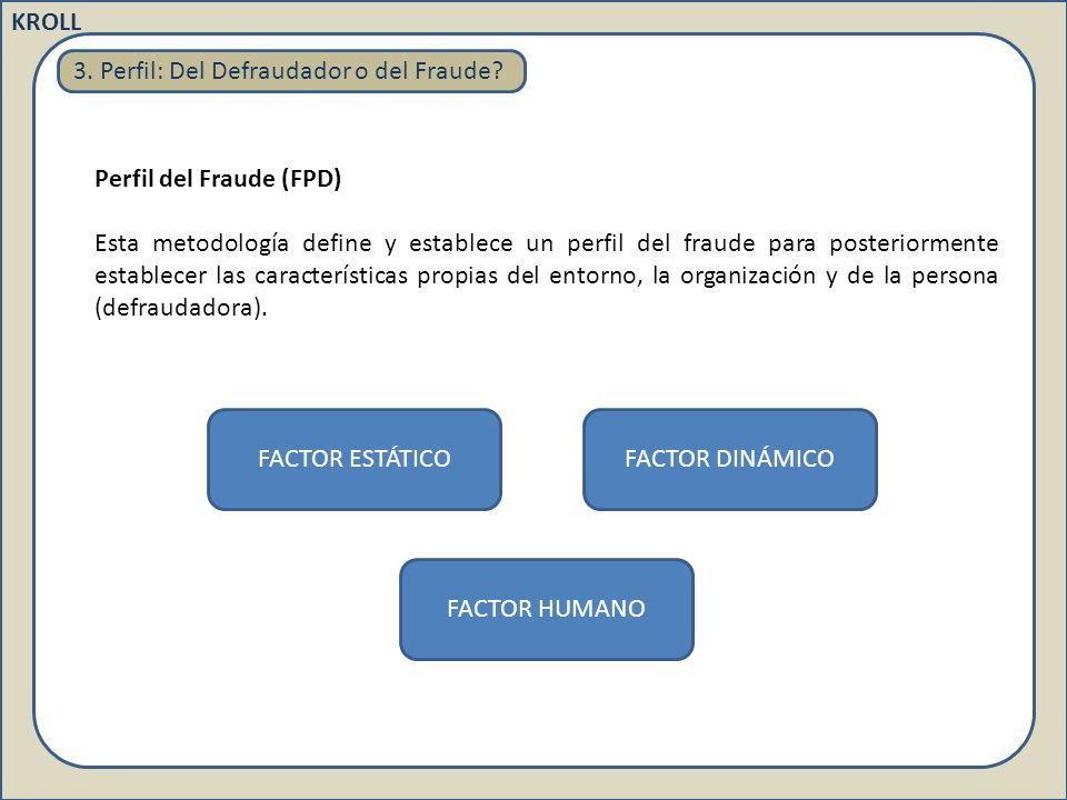 3. Perfil: Del Defraudador o del Fraude