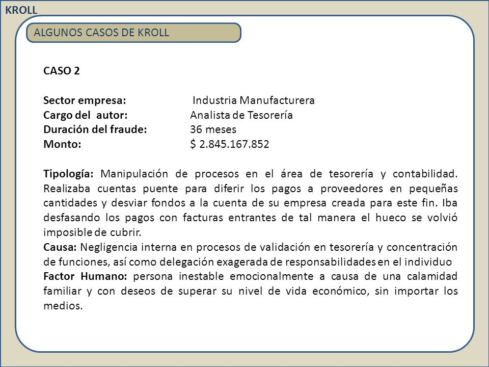 KROLL ALGUNOS CASOS DE KROLL. CASO 2. Sector empresa: Industria Manufacturera. Cargo del autor: Analista de Tesorería.