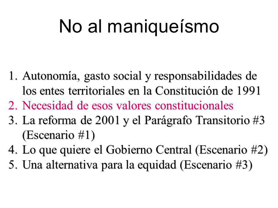 No al maniqueísmo Autonomía, gasto social y responsabilidades de los entes territoriales en la Constitución de 1991.