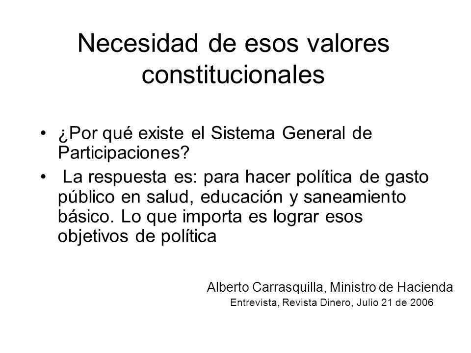 Necesidad de esos valores constitucionales