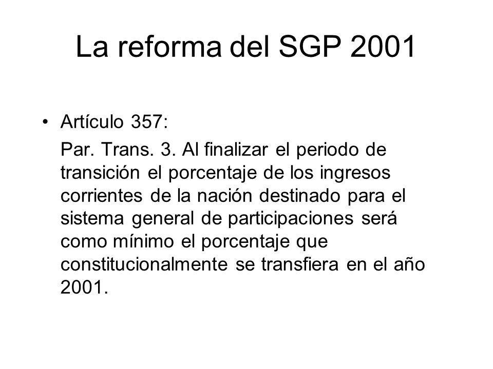 La reforma del SGP 2001 Artículo 357: