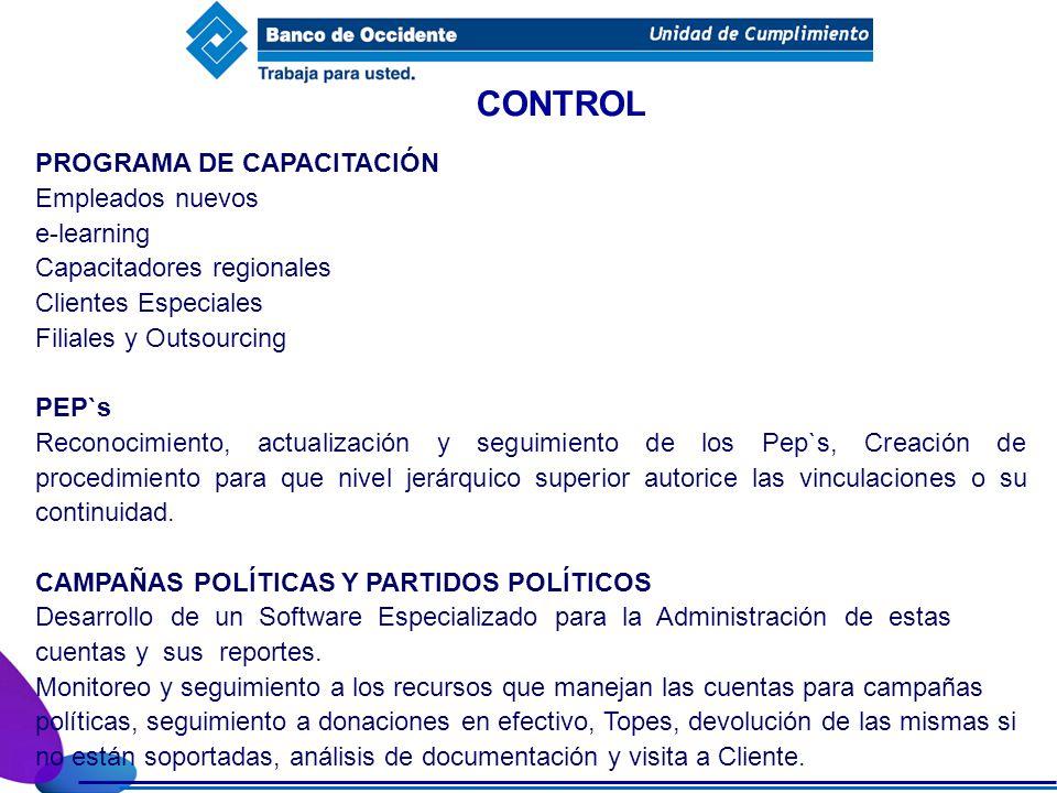 CONTROL PROGRAMA DE CAPACITACIÓN Empleados nuevos e-learning