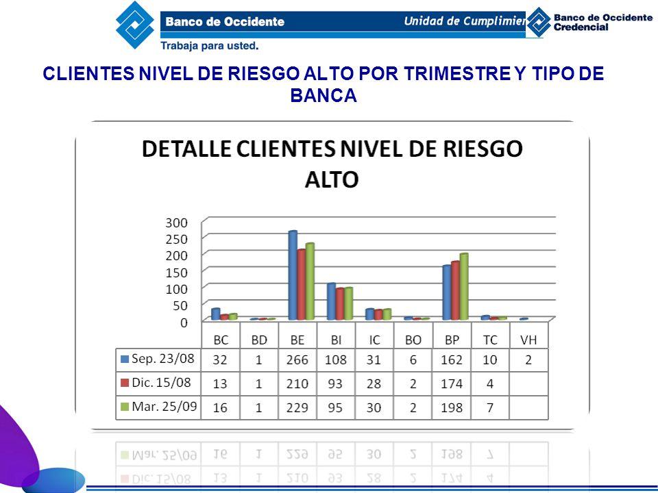 CLIENTES NIVEL DE RIESGO ALTO POR TRIMESTRE Y TIPO DE BANCA
