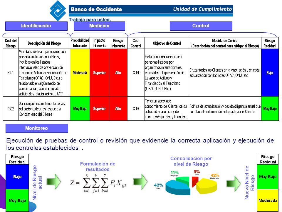 Consolidación por nivel de Riesgo Formulación de resultados