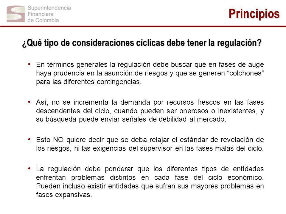 Principios ¿Qué tipo de consideraciones cíclicas debe tener la regulación