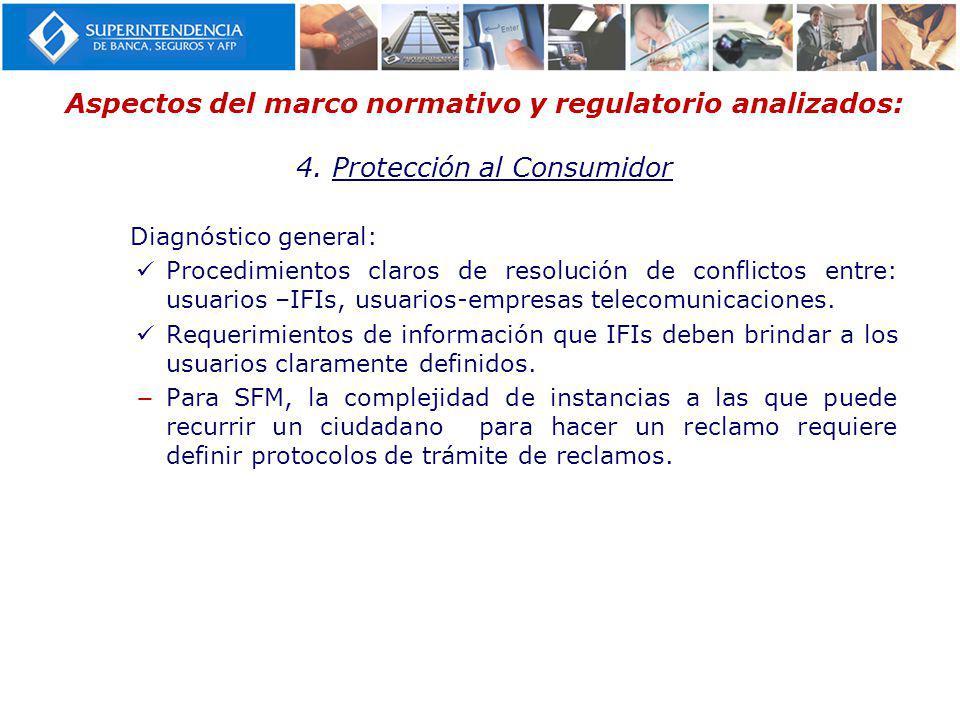Aspectos del marco normativo y regulatorio analizados: 4