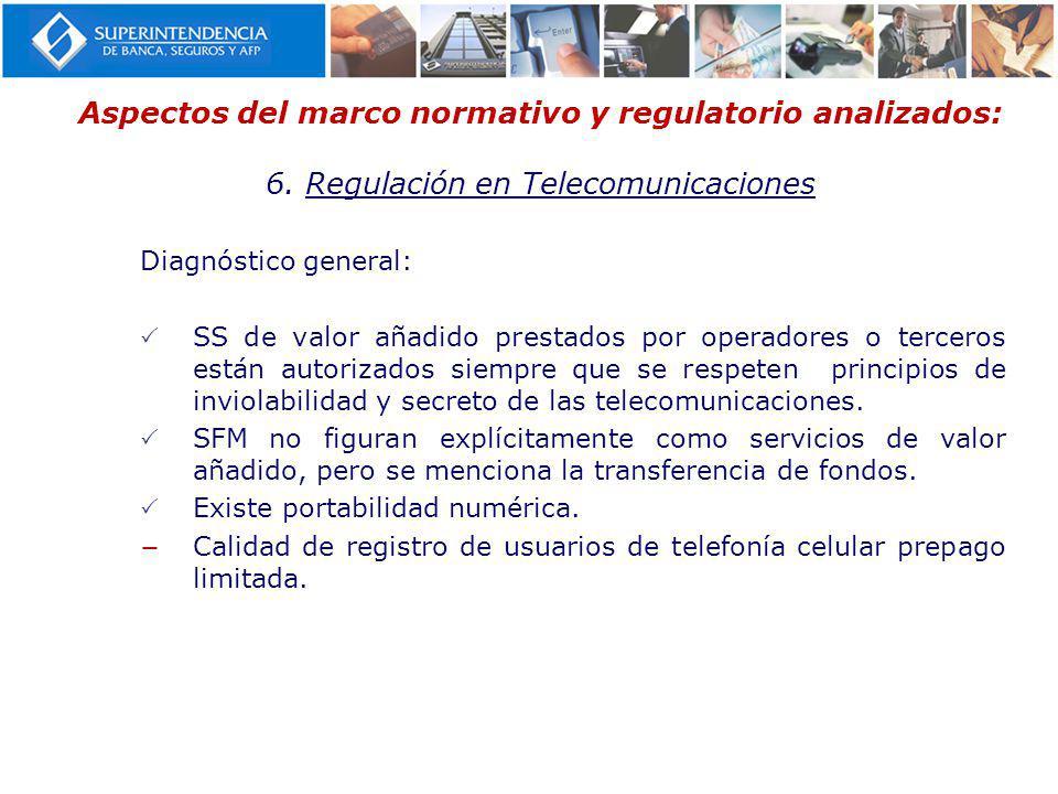 Aspectos del marco normativo y regulatorio analizados: 6