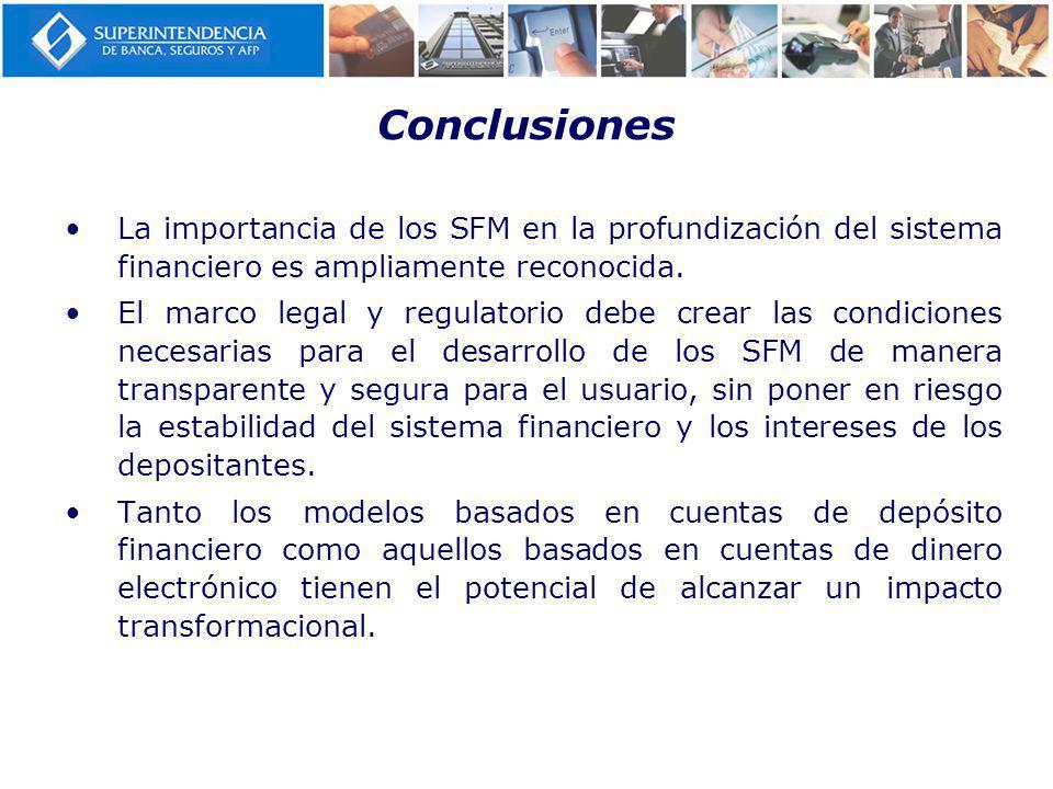 Conclusiones La importancia de los SFM en la profundización del sistema financiero es ampliamente reconocida.