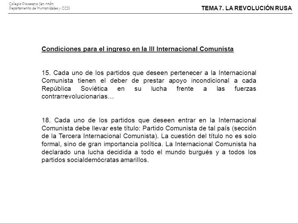 Condiciones para el ingreso en la III Internacional Comunista