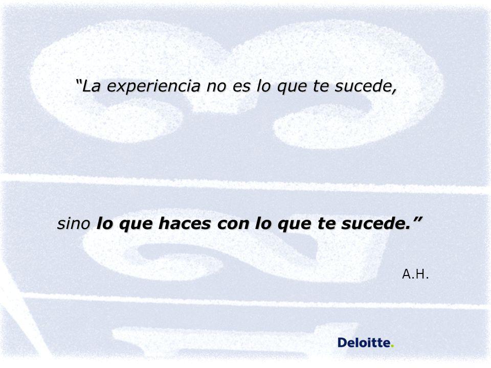 A.H. La experiencia no es lo que te sucede,