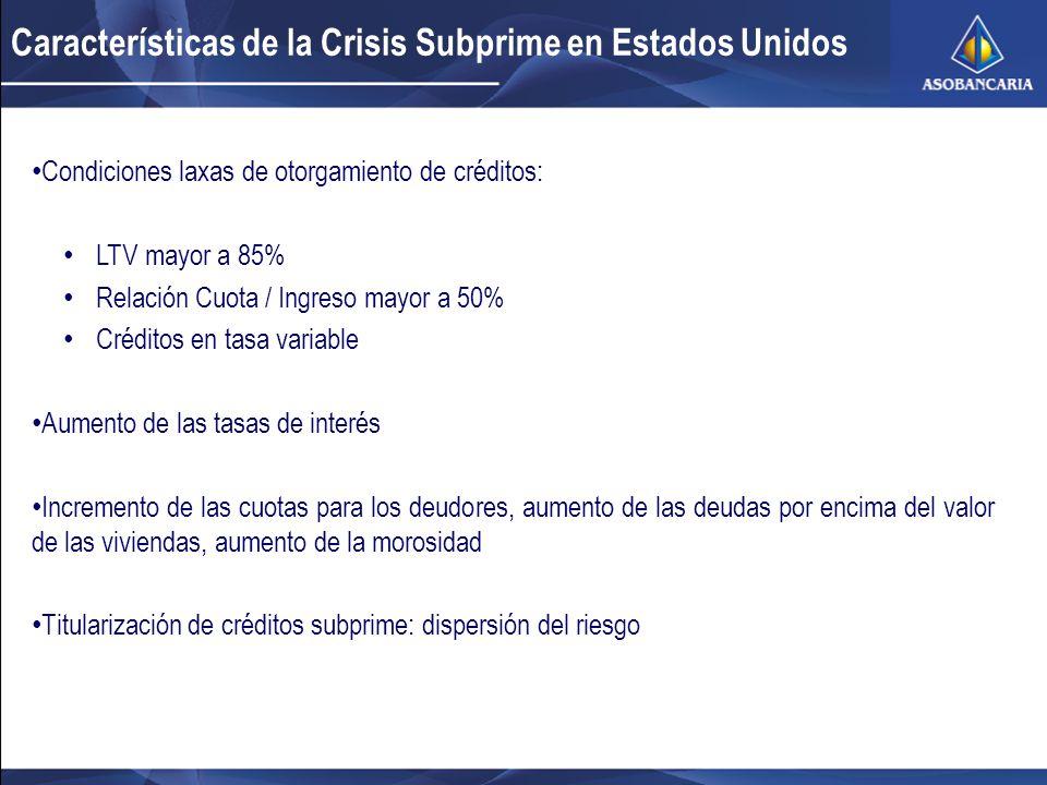 Características de la Crisis Subprime en Estados Unidos