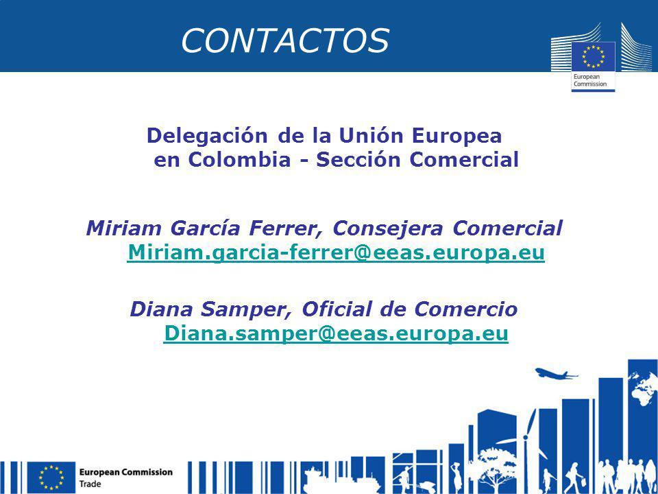 CONTACTOS Delegación de la Unión Europea en Colombia - Sección Comercial.