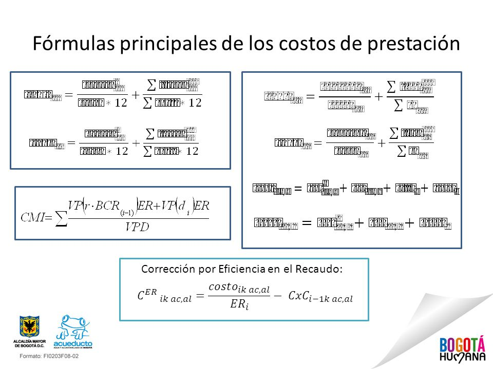 Fórmulas principales de los costos de prestación