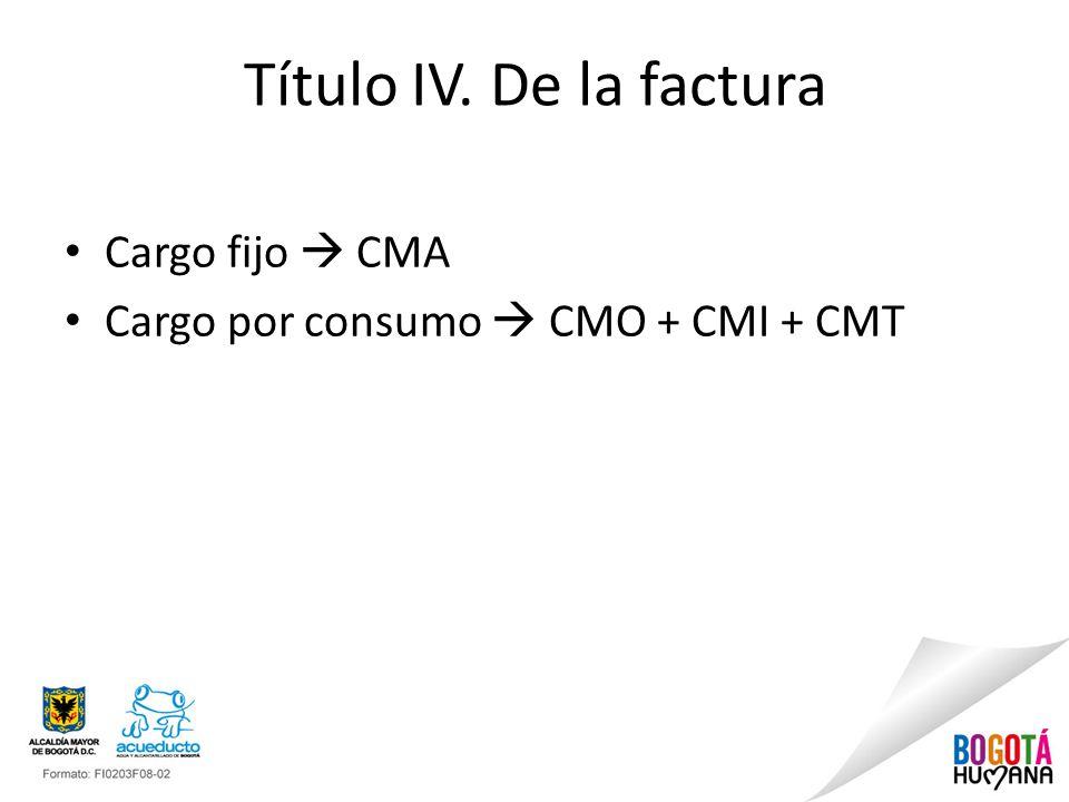 Título IV. De la factura Cargo fijo  CMA