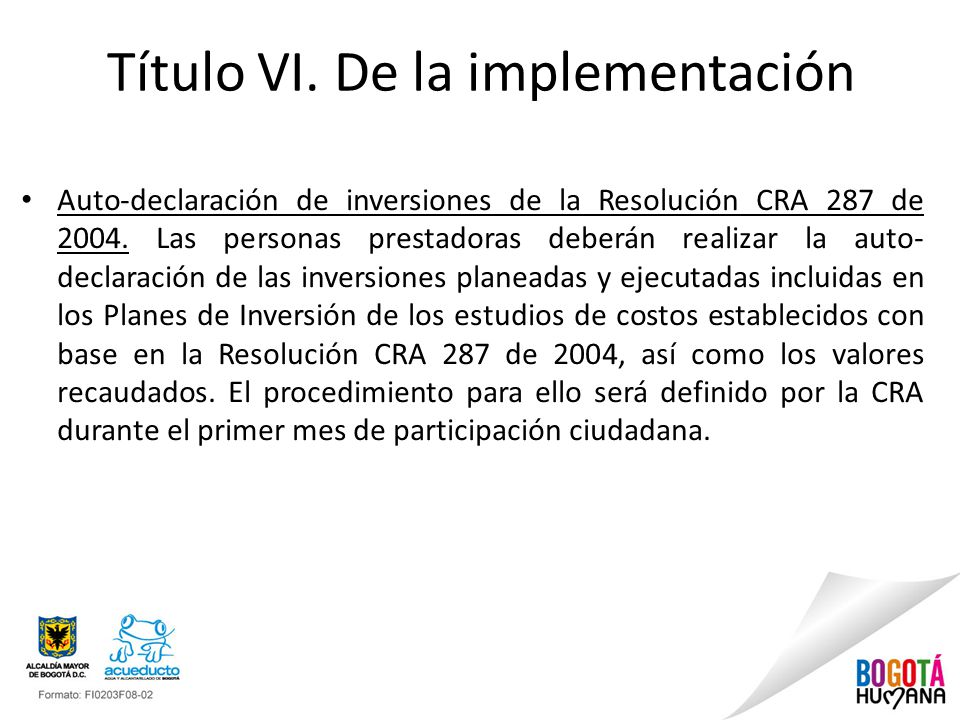 Título VI. De la implementación
