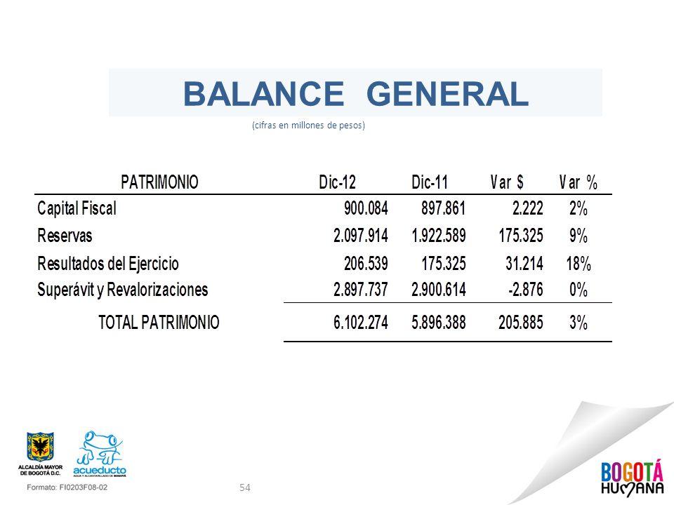BALANCE GENERAL (cifras en millones de pesos)