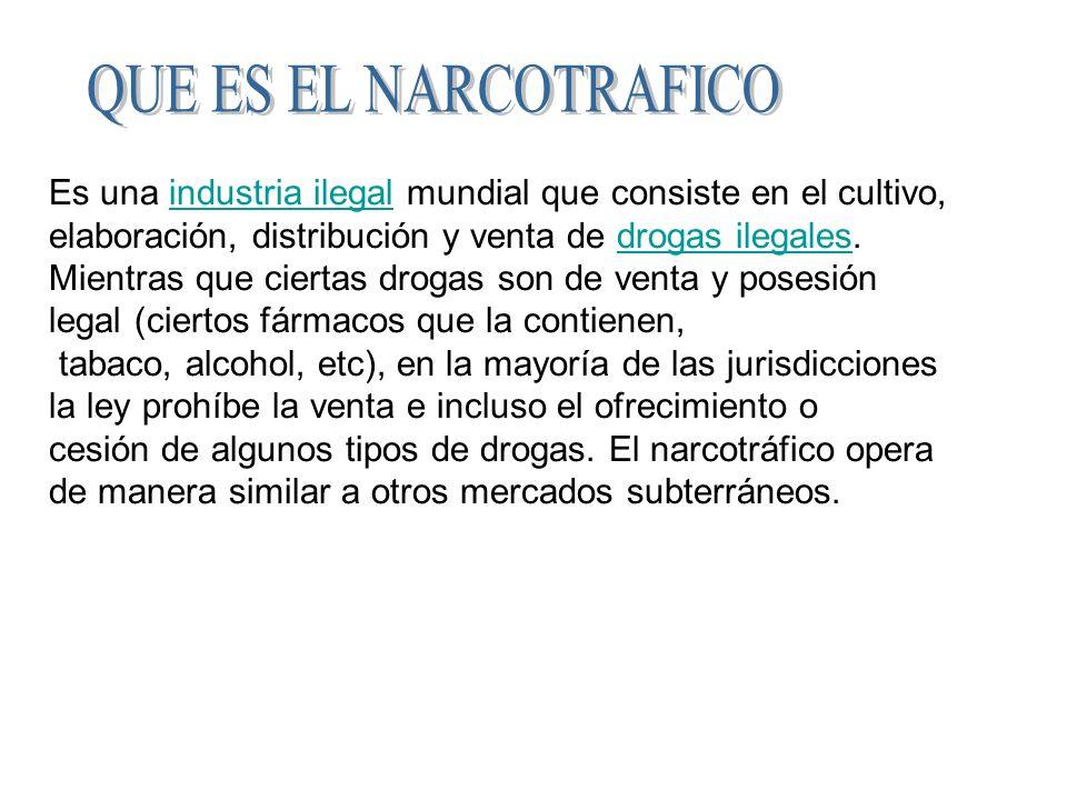QUE ES EL NARCOTRAFICO Es una industria ilegal mundial que consiste en el cultivo, elaboración, distribución y venta de drogas ilegales.