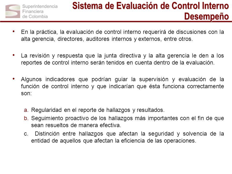 Sistema de Evaluación de Control Interno Desempeño