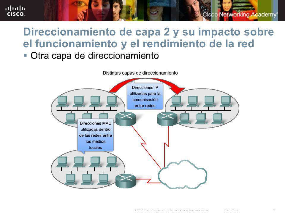 Direccionamiento de capa 2 y su impacto sobre el funcionamiento y el rendimiento de la red