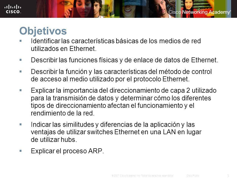 Objetivos Identificar las características básicas de los medios de red utilizados en Ethernet.