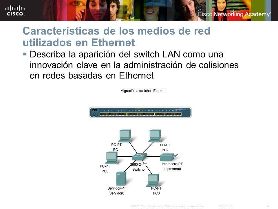 Características de los medios de red utilizados en Ethernet