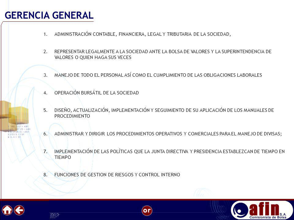 GERENCIA GENERAL ADMINISTRACIÓN CONTABLE, FINANCIERA, LEGAL Y TRIBUTARIA DE LA SOCIEDAD,