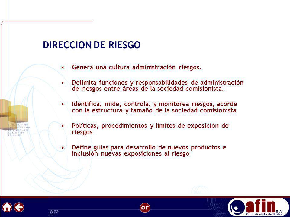 DIRECCION DE RIESGO Genera una cultura administración riesgos.