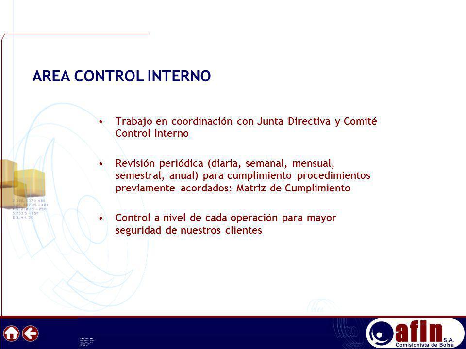 AREA CONTROL INTERNO Trabajo en coordinación con Junta Directiva y Comité Control Interno.