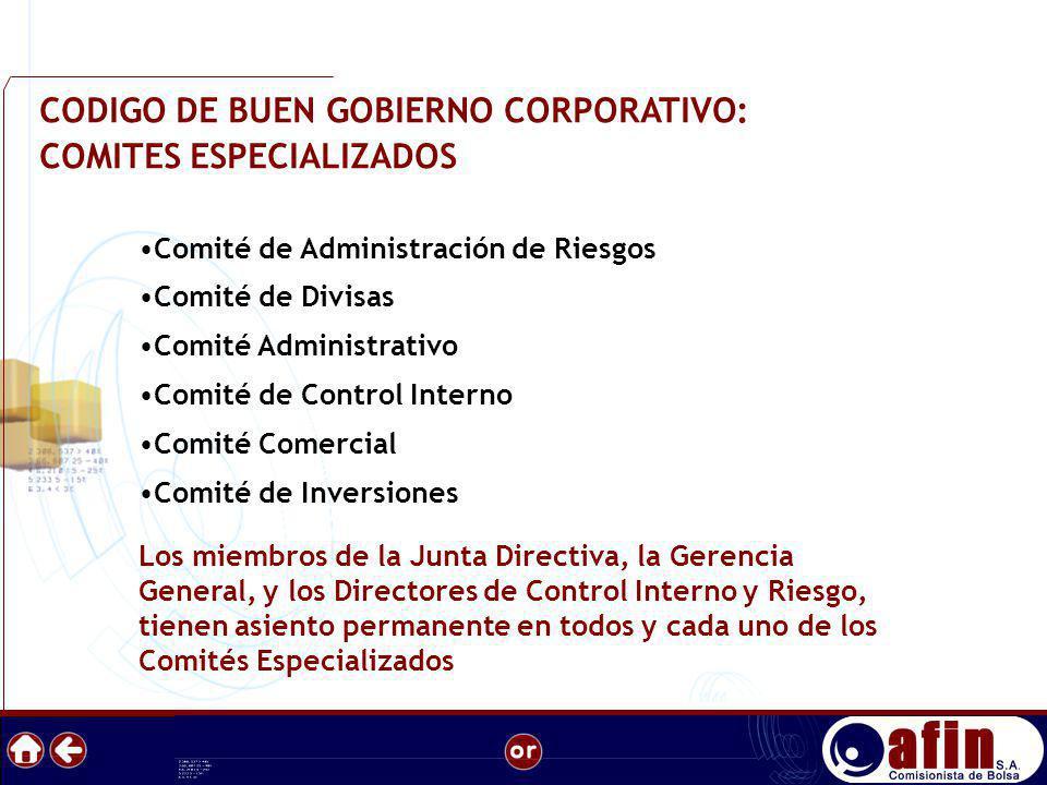 CODIGO DE BUEN GOBIERNO CORPORATIVO: COMITES ESPECIALIZADOS