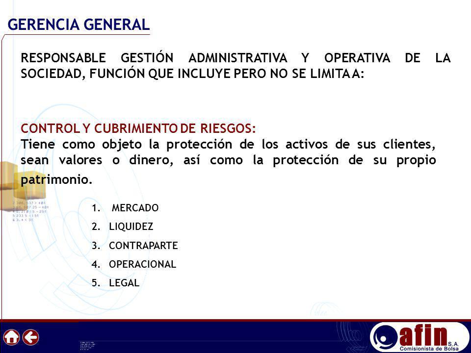 GERENCIA GENERAL RESPONSABLE GESTIÓN ADMINISTRATIVA Y OPERATIVA DE LA SOCIEDAD, FUNCIÓN QUE INCLUYE PERO NO SE LIMITA A: