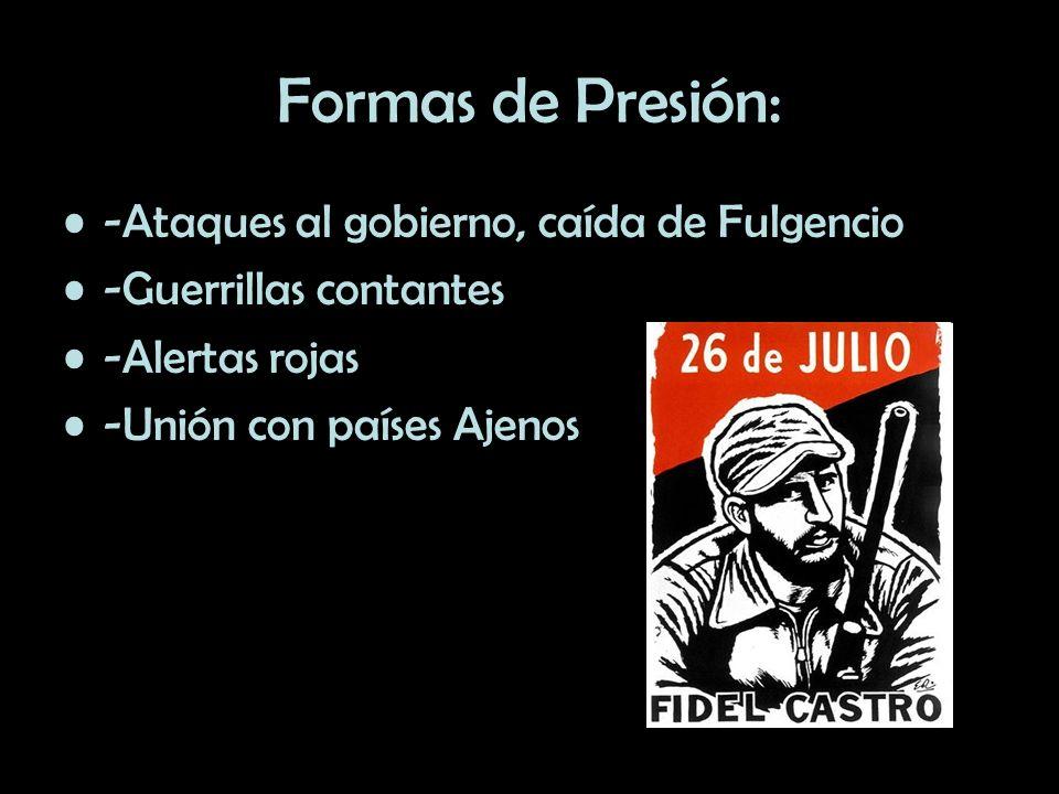Formas de Presión: -Ataques al gobierno, caída de Fulgencio