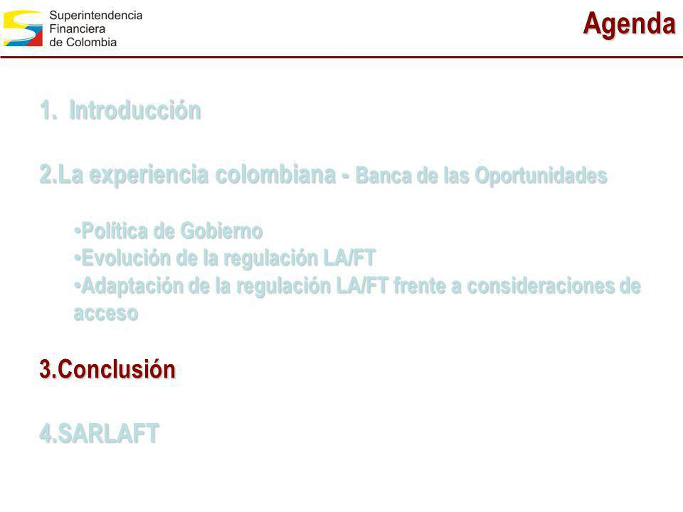 Agenda 1. Introducción. La experiencia colombiana - Banca de las Oportunidades. Política de Gobierno.