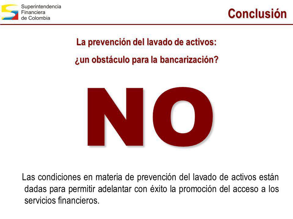NO Conclusión La prevención del lavado de activos: