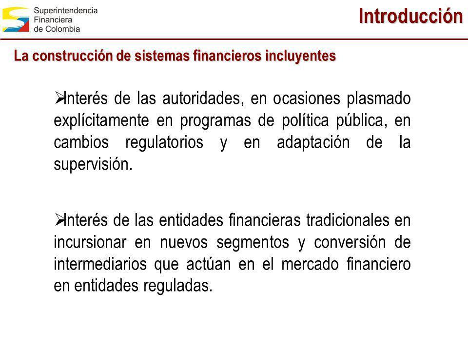 Introducción La construcción de sistemas financieros incluyentes.