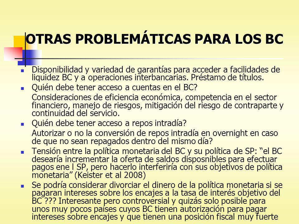 OTRAS PROBLEMÁTICAS PARA LOS BC
