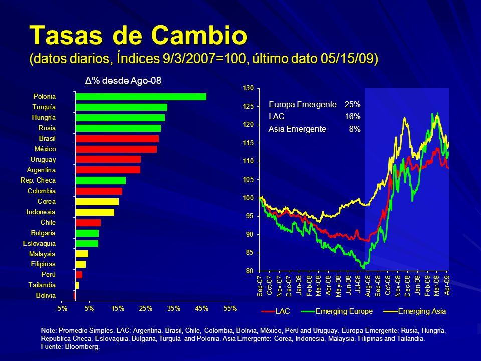 Tasas de Cambio (datos diarios, Índices 9/3/2007=100, último dato 05/15/09)
