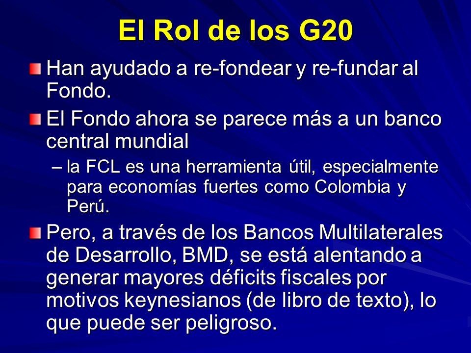 El Rol de los G20 Han ayudado a re-fondear y re-fundar al Fondo.