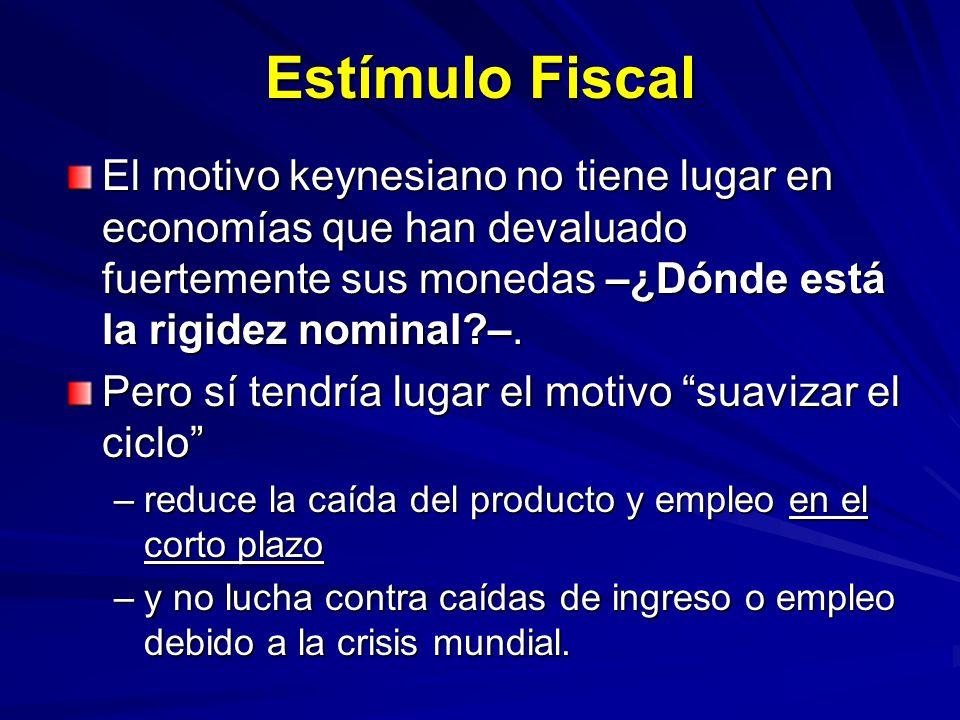 Estímulo Fiscal El motivo keynesiano no tiene lugar en economías que han devaluado fuertemente sus monedas –¿Dónde está la rigidez nominal –.