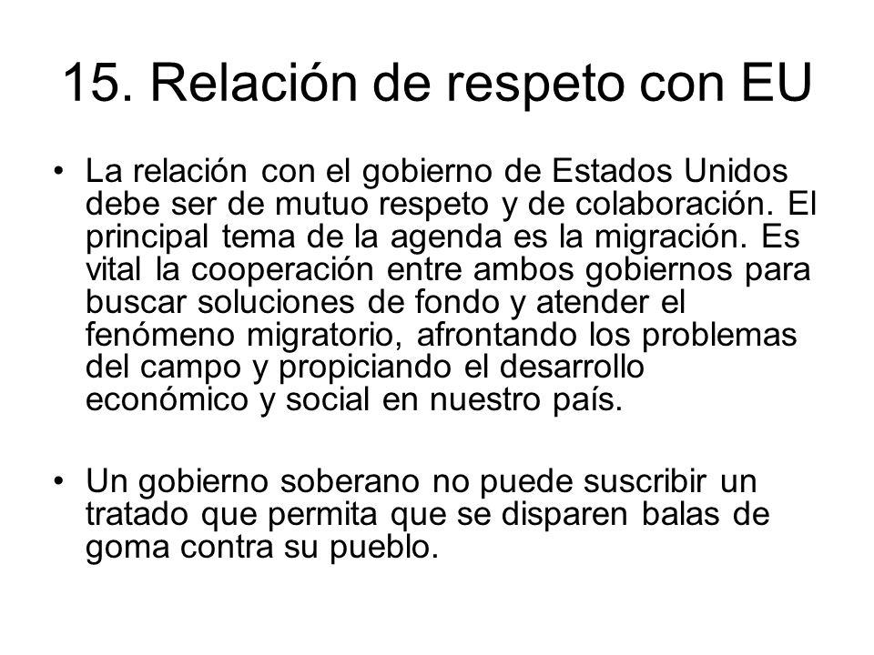 15. Relación de respeto con EU