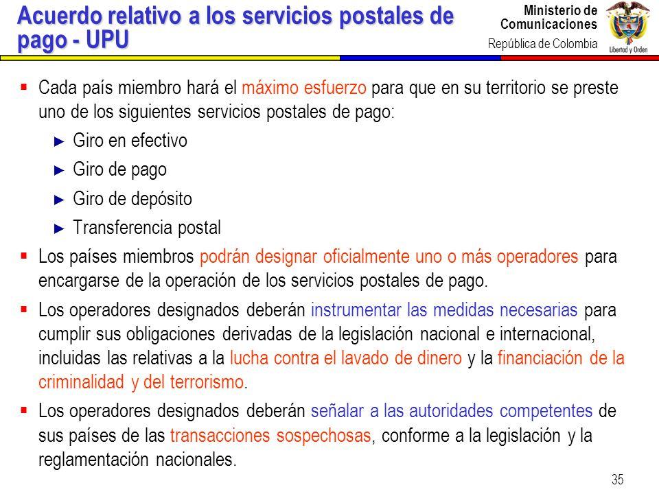 Acuerdo relativo a los servicios postales de pago - UPU
