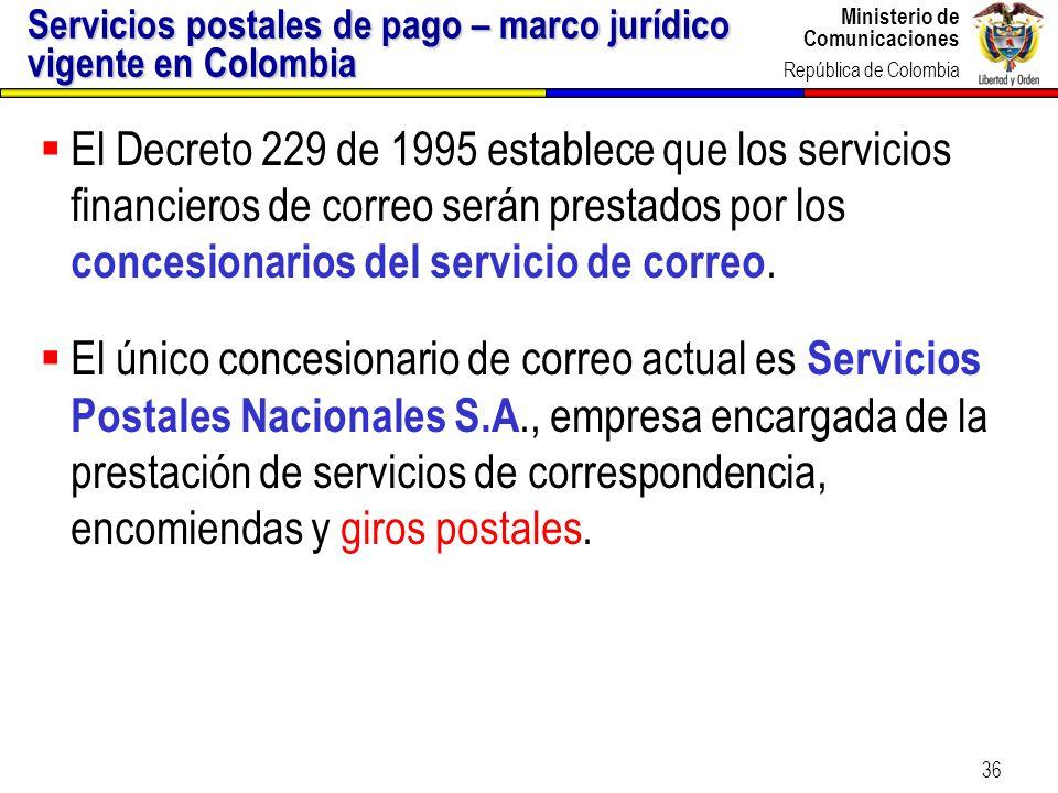 Servicios postales de pago – marco jurídico vigente en Colombia