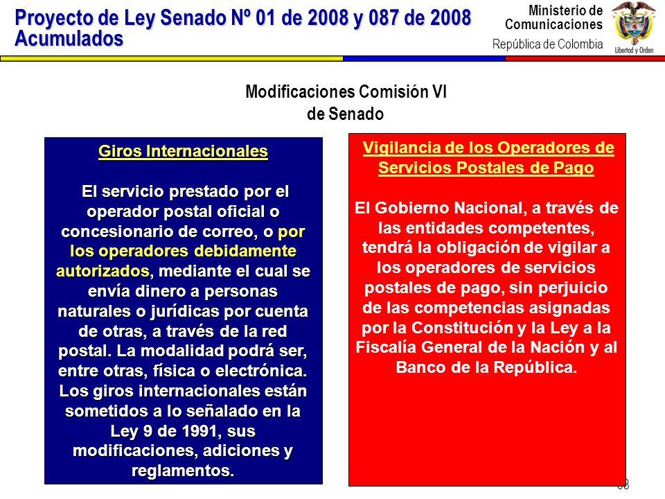 Modificaciones Comisión VI Giros Internacionales