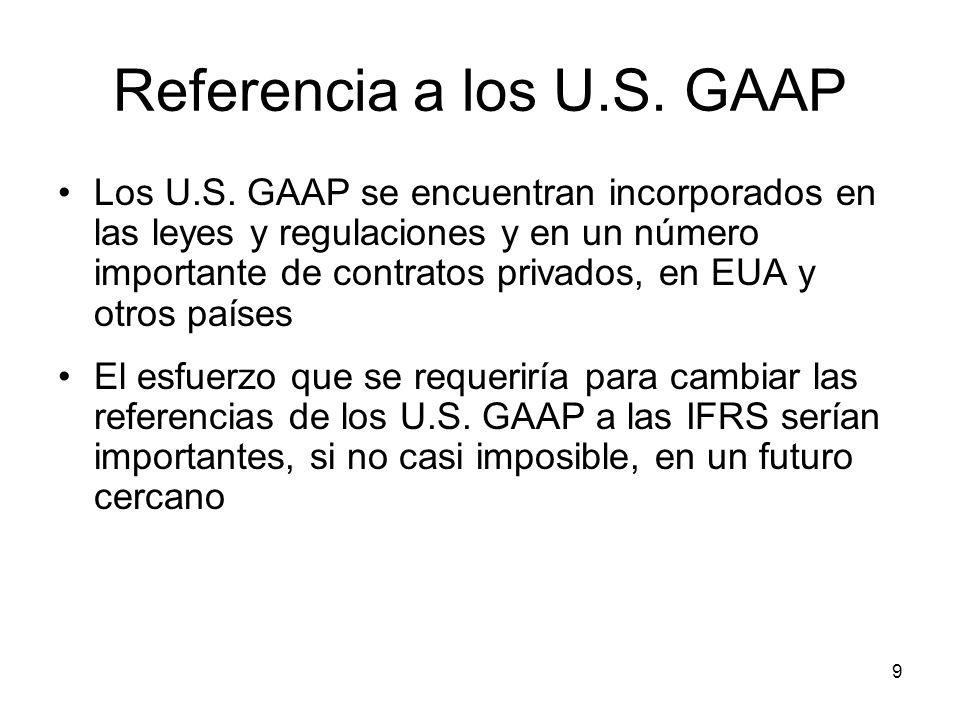Referencia a los U.S. GAAP
