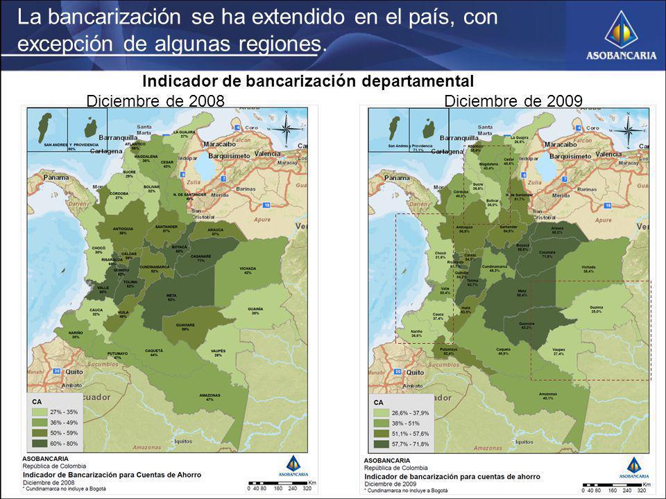 La bancarización se ha extendido en el país, con excepción de algunas regiones.