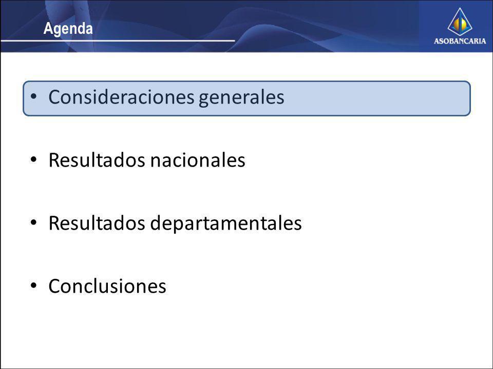 Consideraciones generales Resultados nacionales