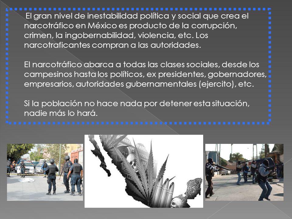 El gran nivel de inestabilidad política y social que crea el narcotráfico en México es producto de la corrupción, crimen, la ingobernabilidad, violencia, etc.