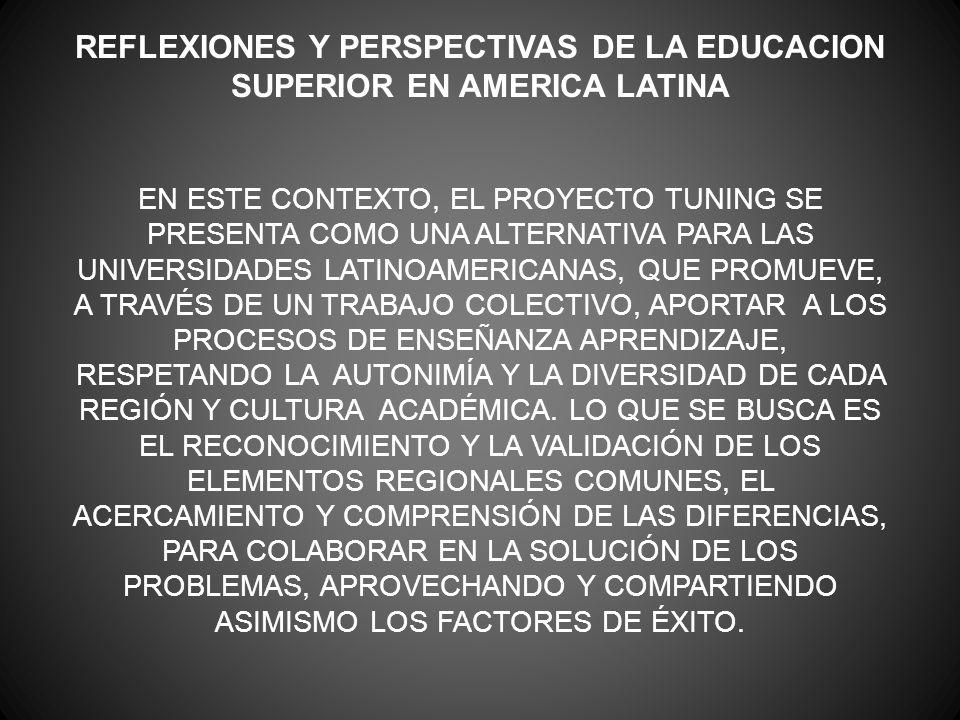 REFLEXIONES Y PERSPECTIVAS DE LA EDUCACION SUPERIOR EN AMERICA LATINA