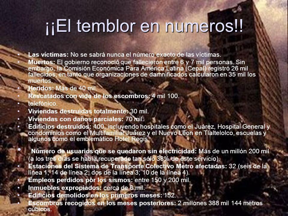 ¡¡El temblor en numeros!!
